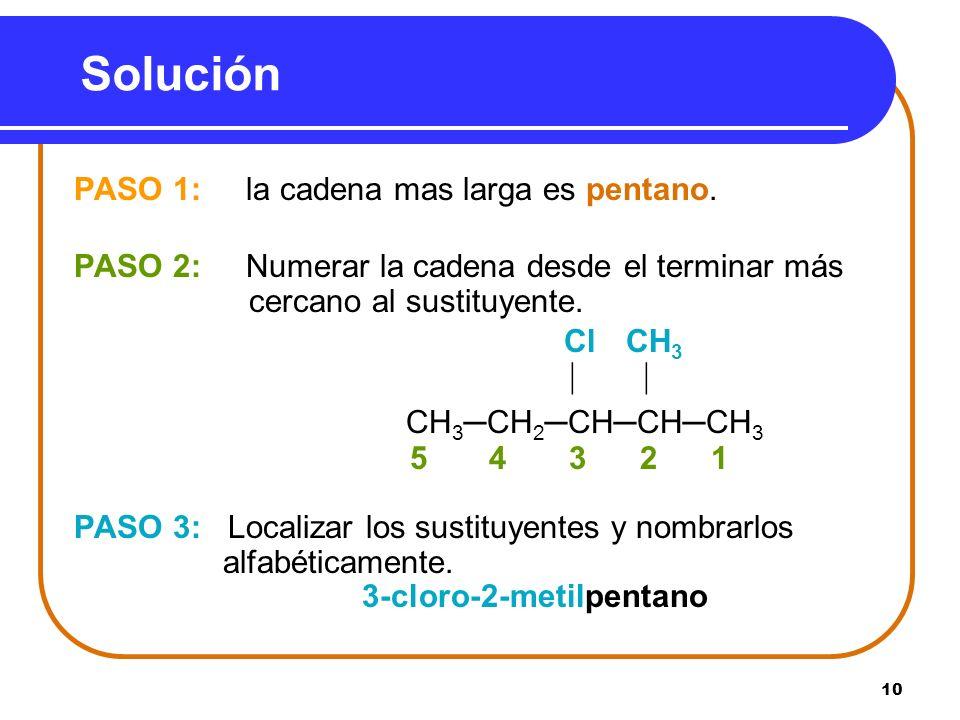 Solución PASO 1: la cadena mas larga es pentano.