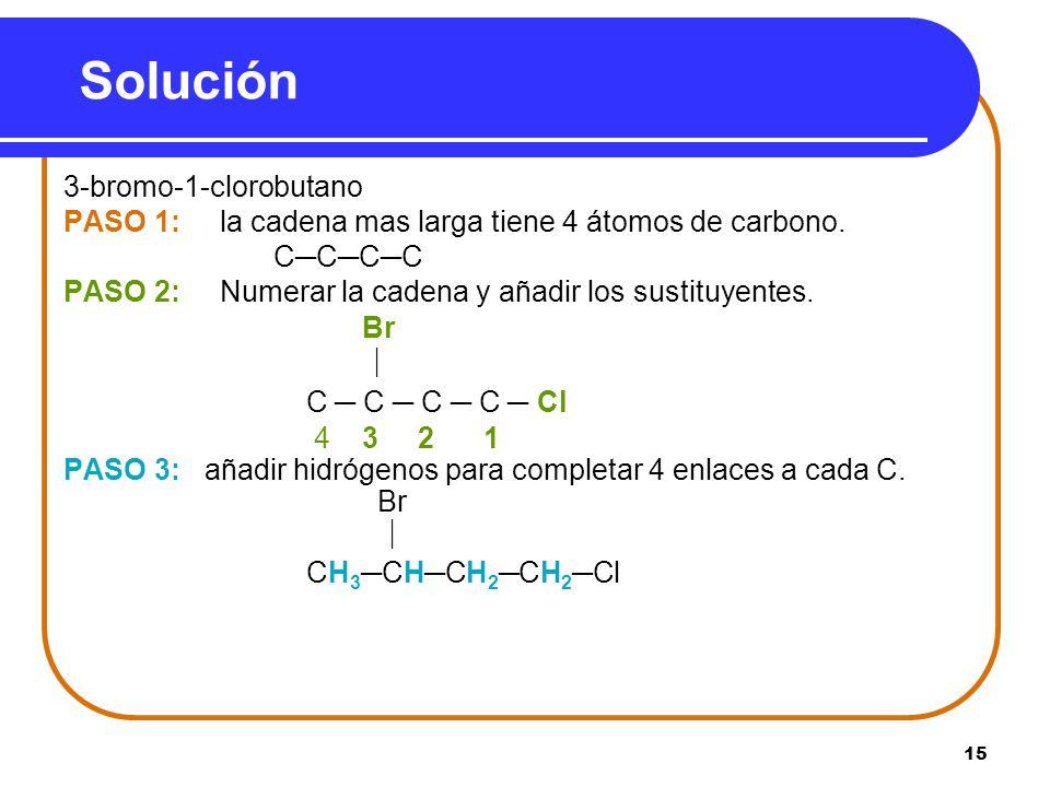 Solución 3-bromo-1-clorobutano