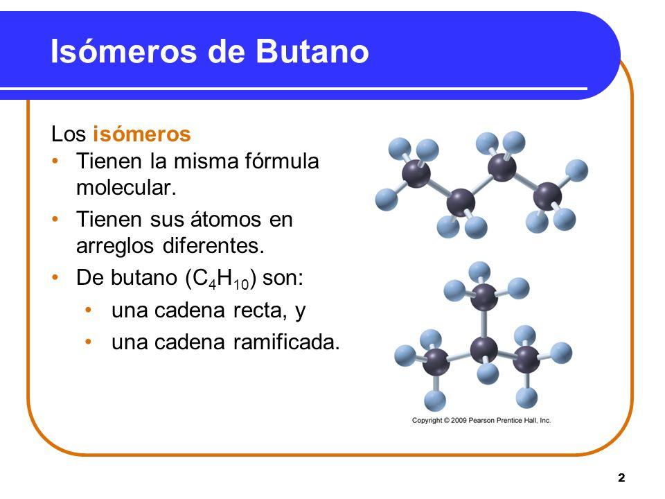 Isómeros de Butano Los isómeros Tienen la misma fórmula molecular.