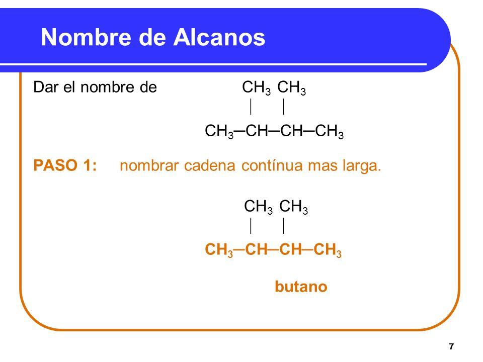 Nombre de Alcanos Dar el nombre de CH3 CH3   CH3─CH─CH─CH3