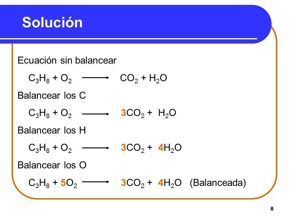 Solución Ecuación sin balancear C3H8 + O2 CO2 + H2O Balancear los C