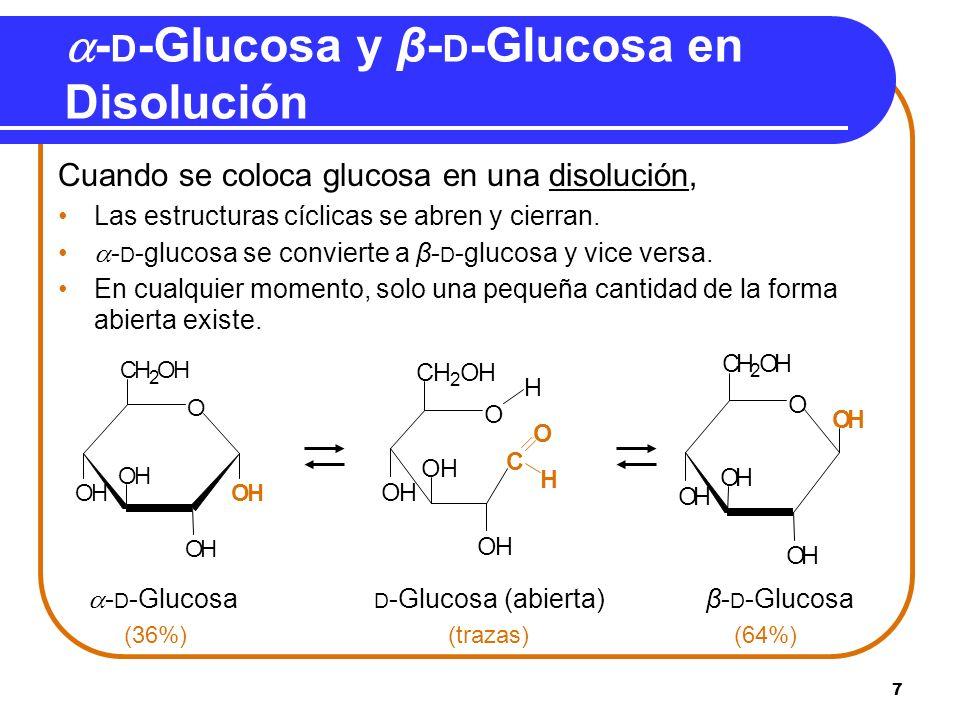 -D-Glucosa y β-D-Glucosa en Disolución