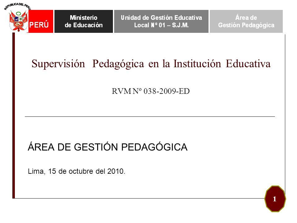 Supervisión Pedagógica en la Institución Educativa RVM Nº 038-2009-ED