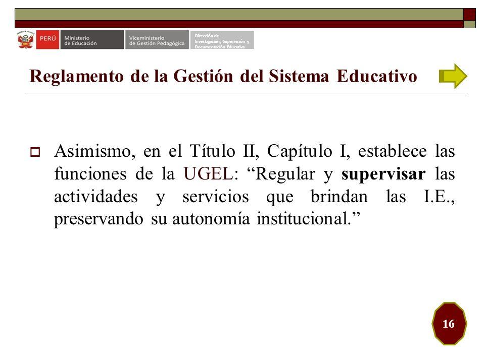 Reglamento de la Gestión del Sistema Educativo