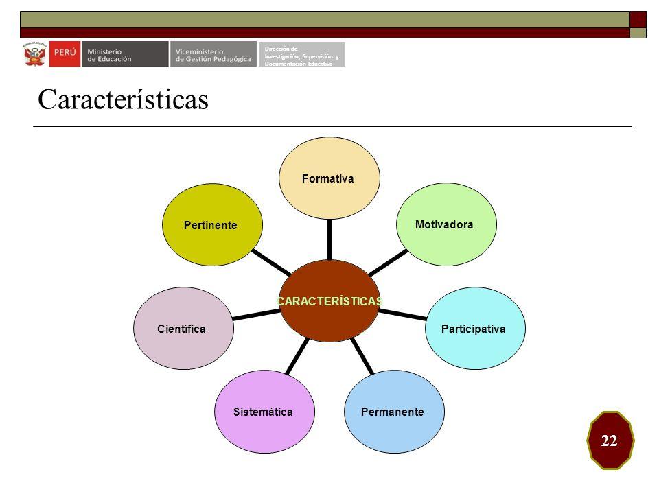Características 22 Dirección de Investigación, Supervisión y