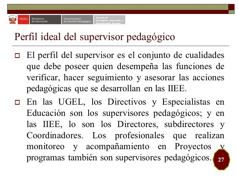 Perfil ideal del supervisor pedagógico