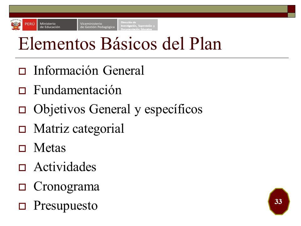 Elementos Básicos del Plan