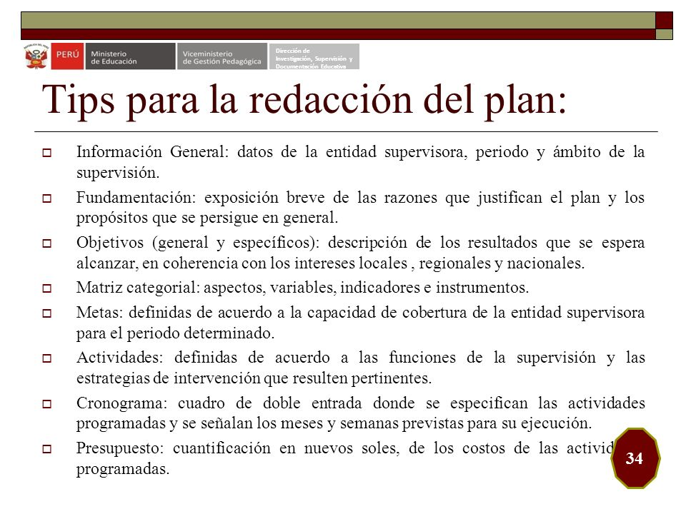 Tips para la redacción del plan: