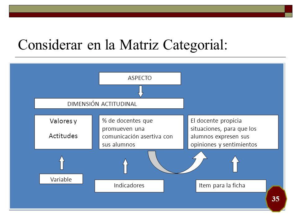 Considerar en la Matriz Categorial: