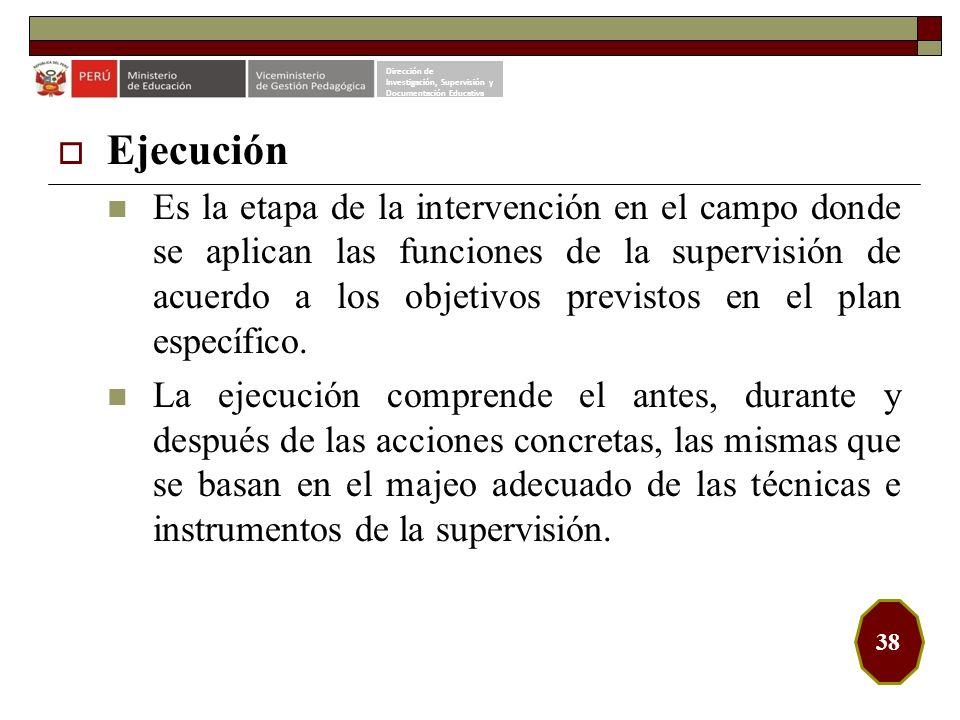 Dirección de Investigación, Supervisión y. Documentación Educativa. Ejecución.