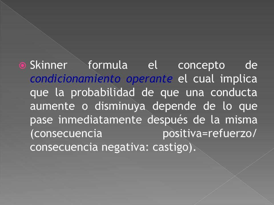 Skinner formula el concepto de condicionamiento operante el cual implica que la probabilidad de que una conducta aumente o disminuya depende de lo que pase inmediatamente después de la misma (consecuencia positiva=refuerzo/ consecuencia negativa: castigo).