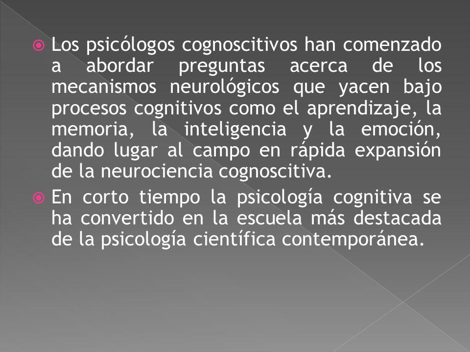 Los psicólogos cognoscitivos han comenzado a abordar preguntas acerca de los mecanismos neurológicos que yacen bajo procesos cognitivos como el aprendizaje, la memoria, la inteligencia y la emoción, dando lugar al campo en rápida expansión de la neurociencia cognoscitiva.