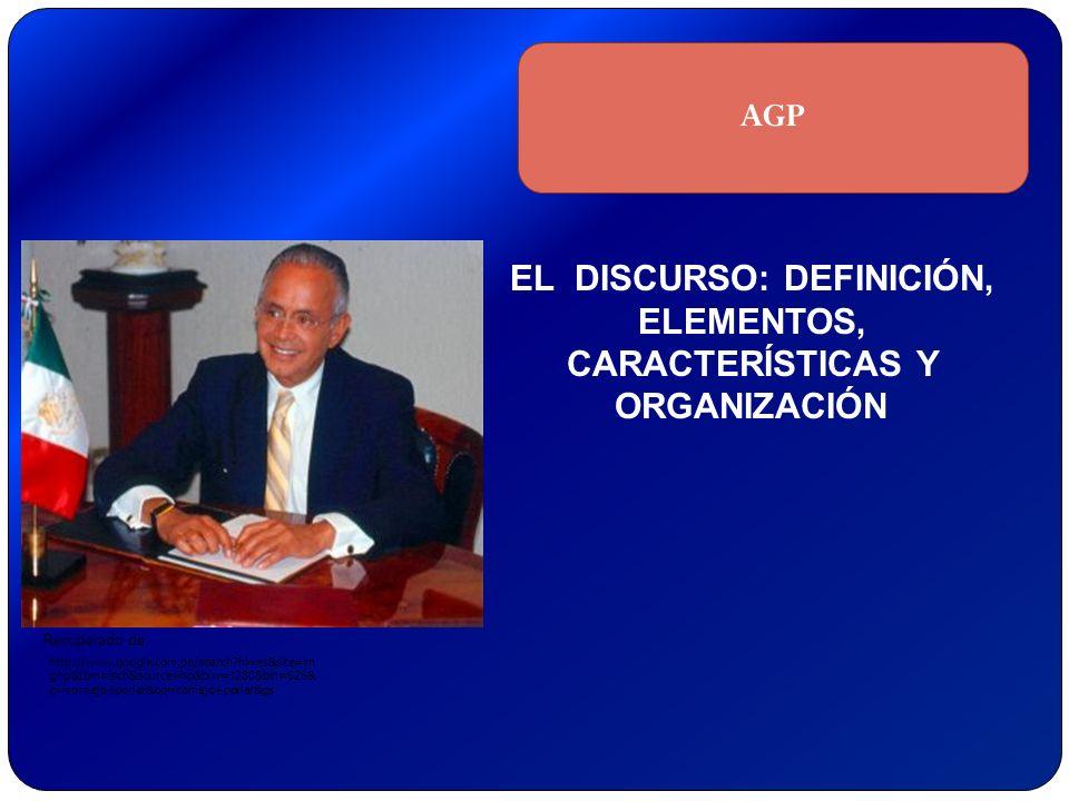 EL DISCURSO: DEFINICIÓN, ELEMENTOS, CARACTERÍSTICAS Y ORGANIZACIÓN