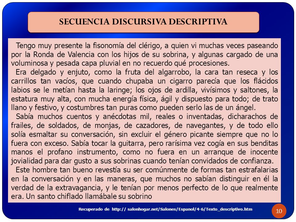 SECUENCIA DISCURSIVA DESCRIPTIVA