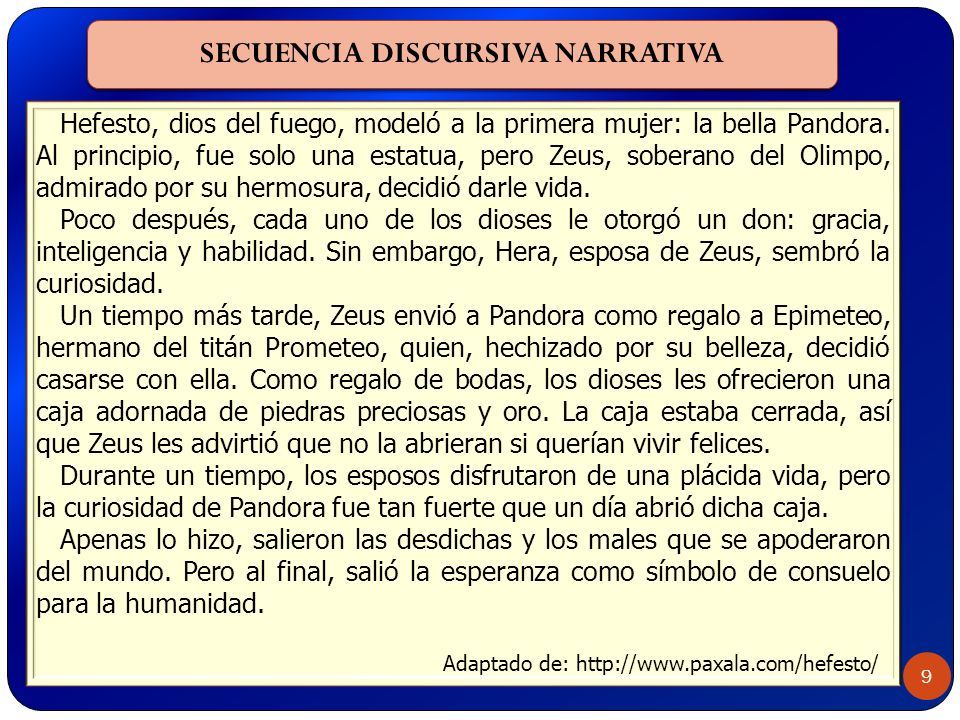 SECUENCIA DISCURSIVA NARRATIVA