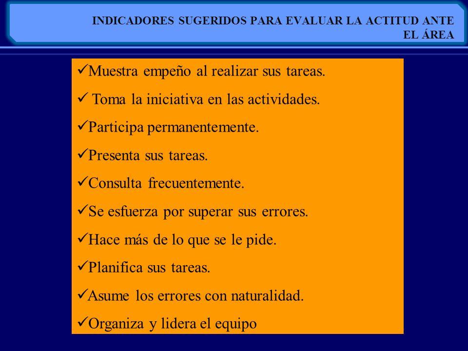 INDICADORES SUGERIDOS PARA EVALUAR LA ACTITUD ANTE EL ÁREA