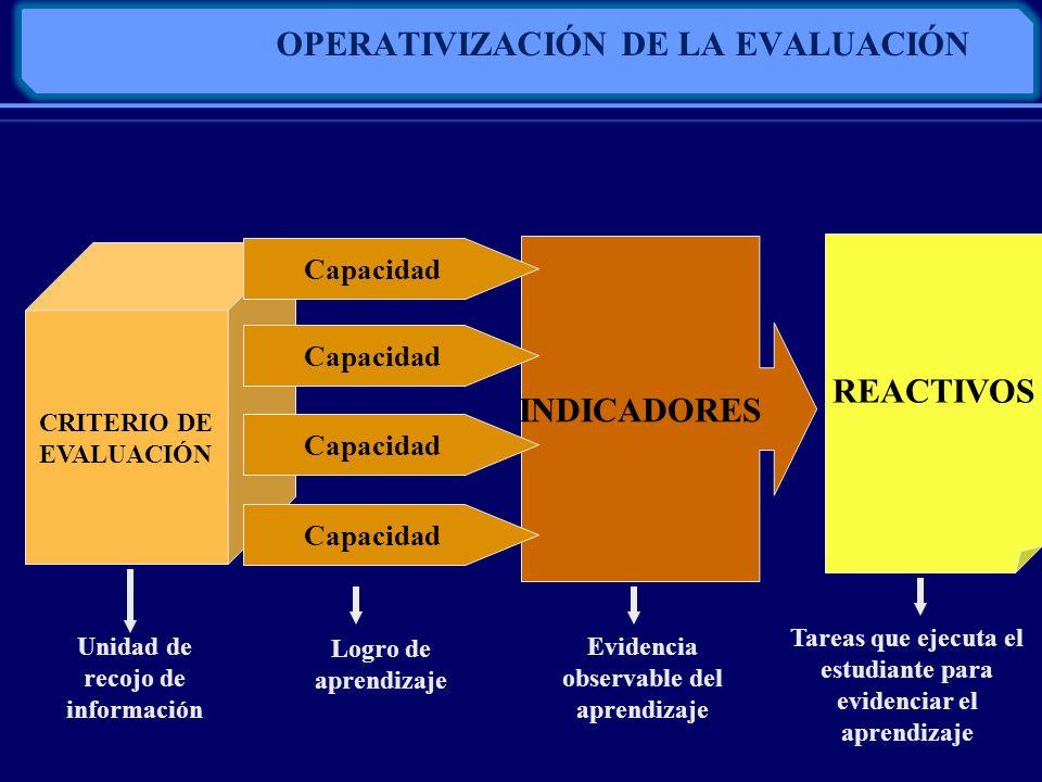 OPERATIVIZACIÓN DE LA EVALUACIÓN