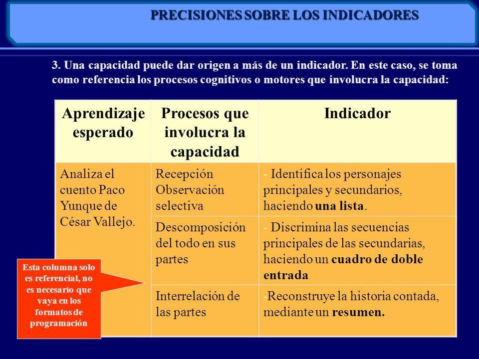 PRECISIONES SOBRE LOS INDICADORES Procesos que involucra la capacidad