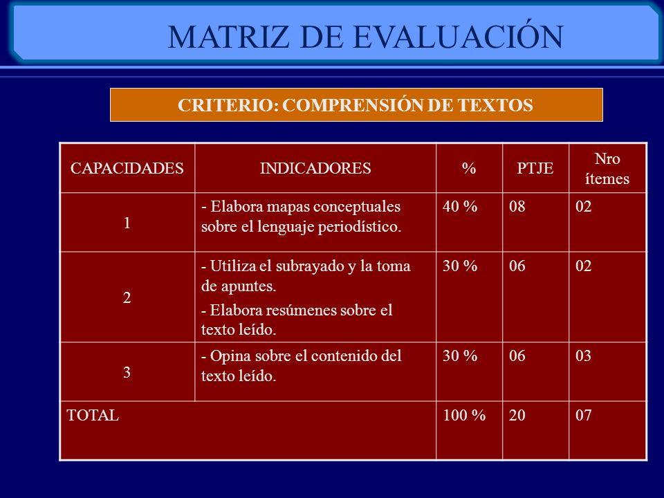 CRITERIO: COMPRENSIÓN DE TEXTOS