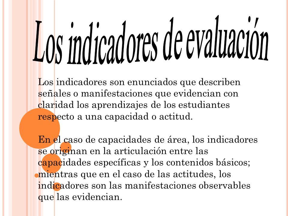 Los indicadores de evaluación