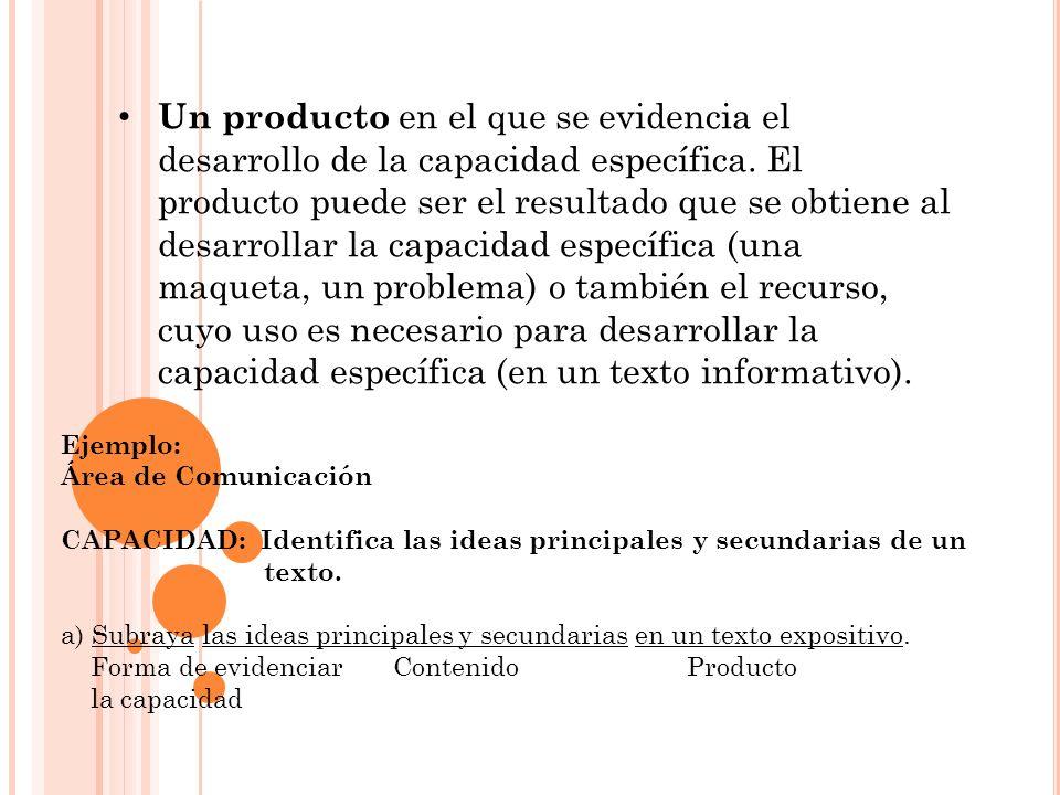 Un producto en el que se evidencia el desarrollo de la capacidad específica. El producto puede ser el resultado que se obtiene al desarrollar la capacidad específica (una maqueta, un problema) o también el recurso, cuyo uso es necesario para desarrollar la capacidad específica (en un texto informativo).
