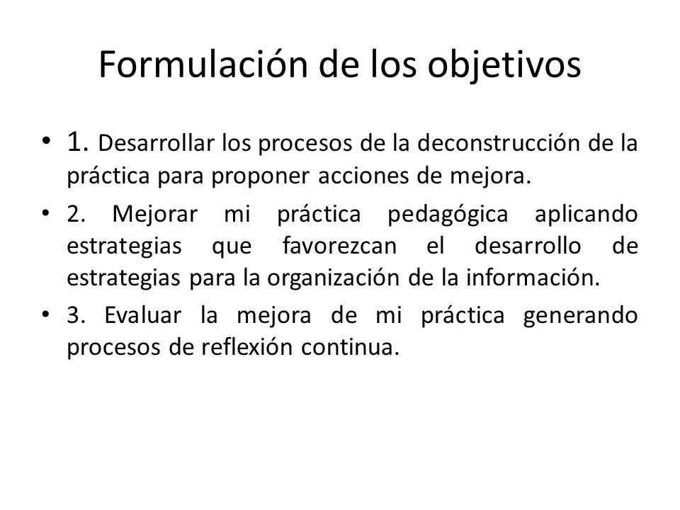 Formulación de los objetivos