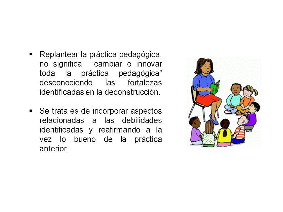 Replantear la práctica pedagógica, no significa cambiar o innovar toda la práctica pedagógica desconociendo las fortalezas identificadas en la deconstrucción.