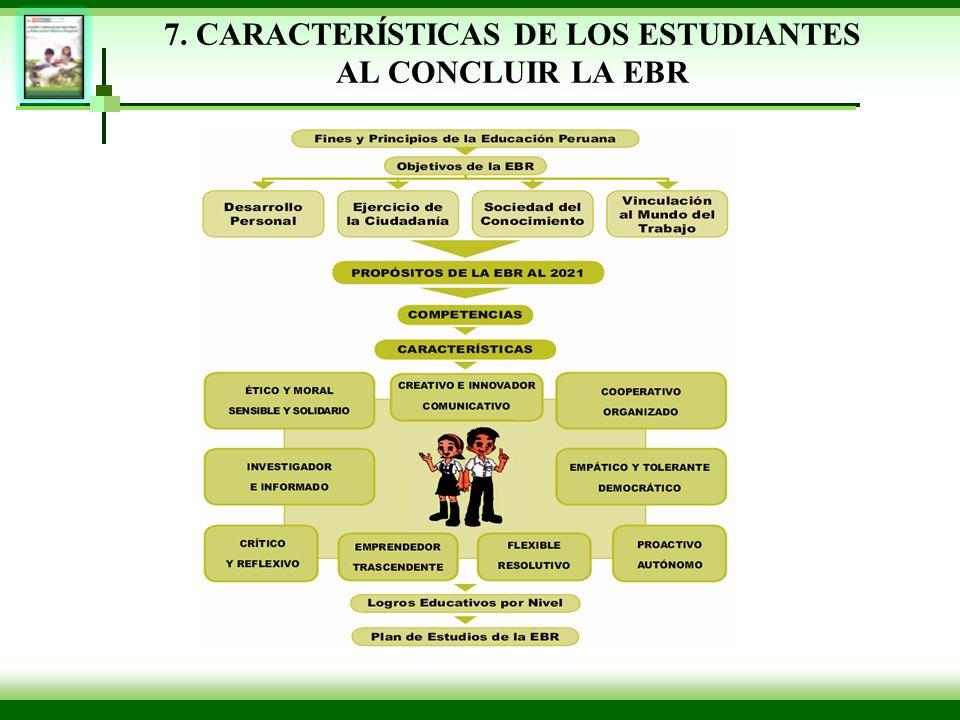 7. CARACTERÍSTICAS DE LOS ESTUDIANTES AL CONCLUIR LA EBR