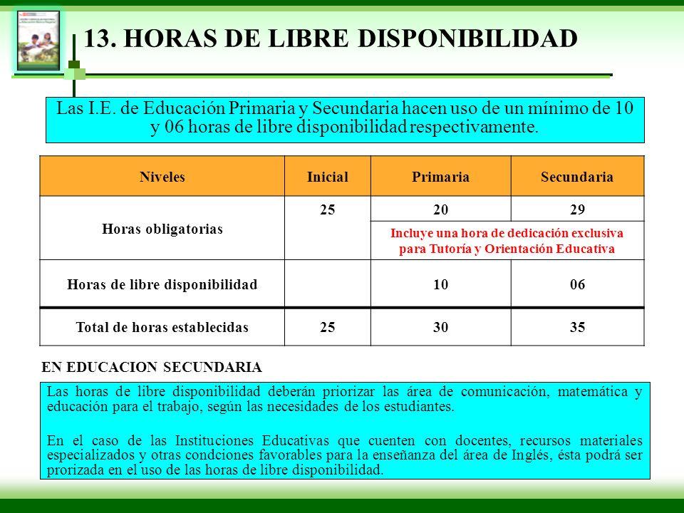 13. HORAS DE LIBRE DISPONIBILIDAD