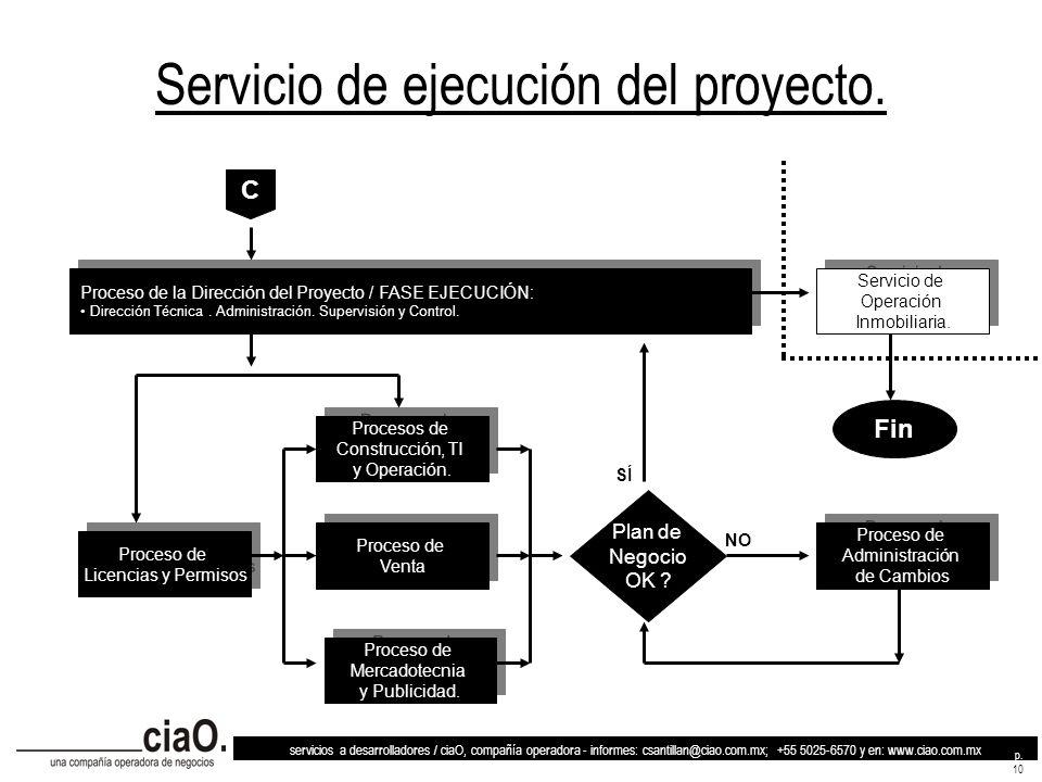 Servicio de ejecución del proyecto.