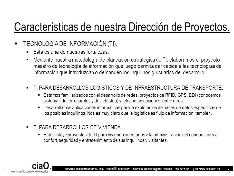 Características de nuestra Dirección de Proyectos.