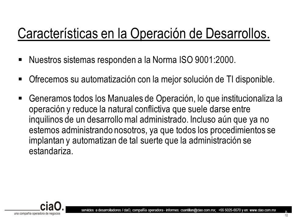 Características en la Operación de Desarrollos.