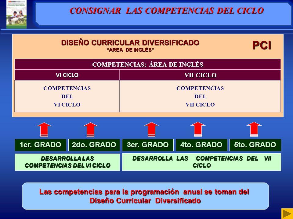 CONSIGNAR LAS COMPETENCIAS DEL CICLO