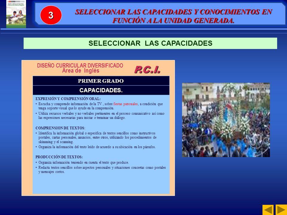 SELECCIONAR LAS CAPACIDADES DISEÑO CURRICULAR DIVERSIFICADO