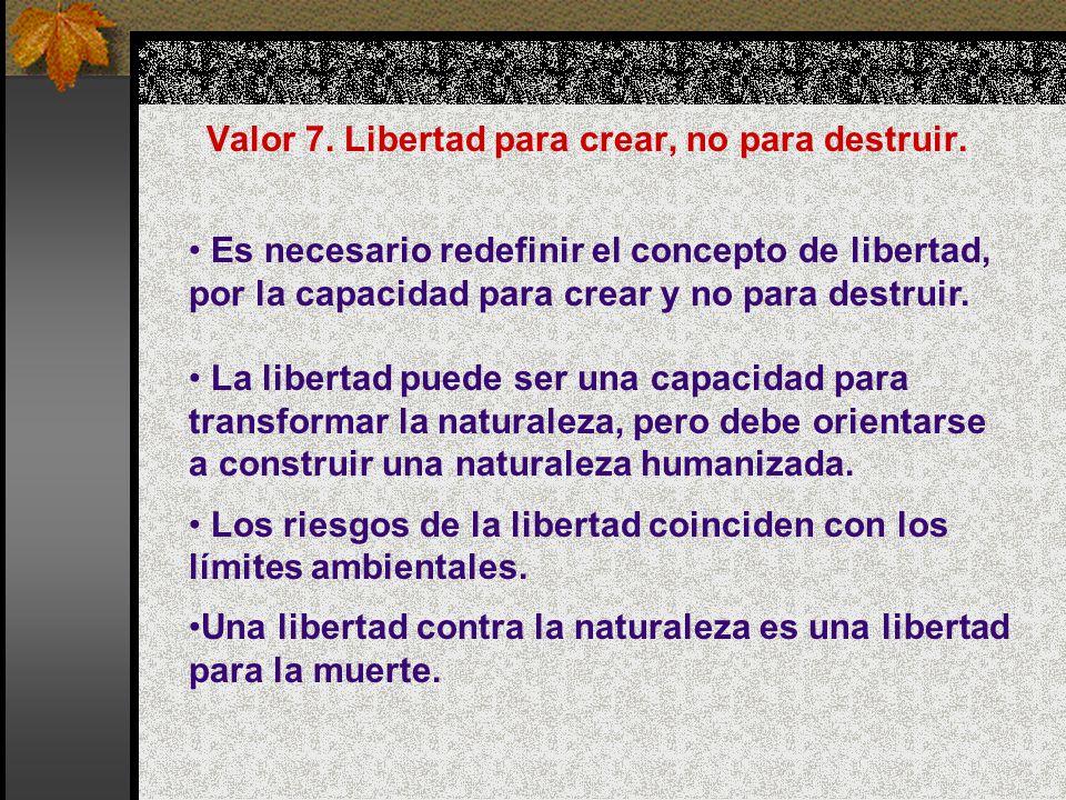 Valor 7. Libertad para crear, no para destruir.