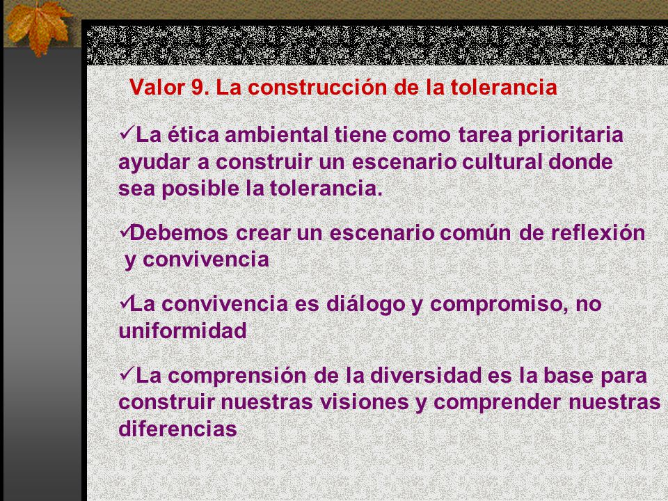 Valor 9. La construcción de la tolerancia