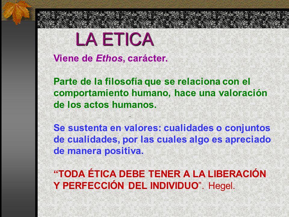 LA ETICA Viene de Ethos, carácter.