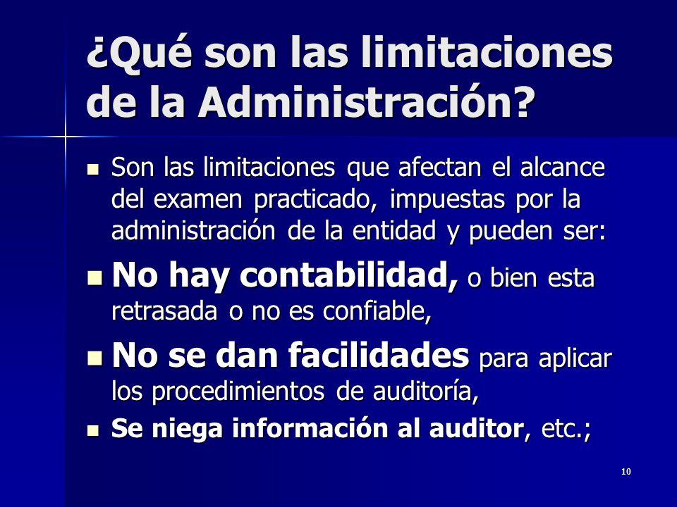 ¿Qué son las limitaciones de la Administración