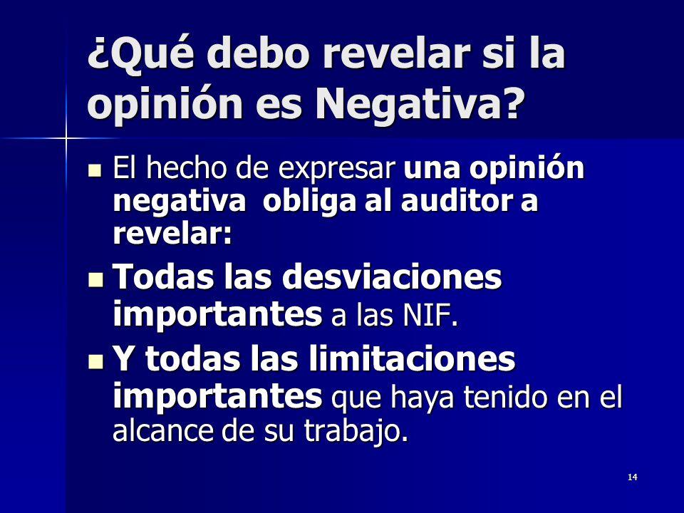 ¿Qué debo revelar si la opinión es Negativa