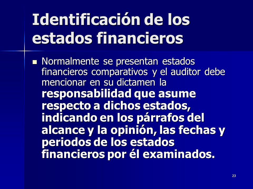 Identificación de los estados financieros