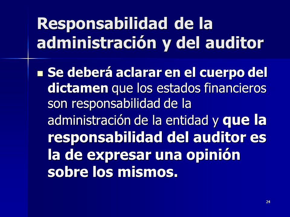 Responsabilidad de la administración y del auditor