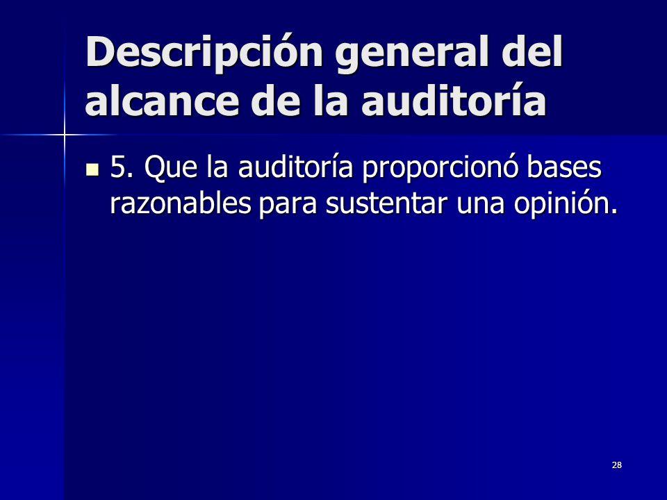 Descripción general del alcance de la auditoría