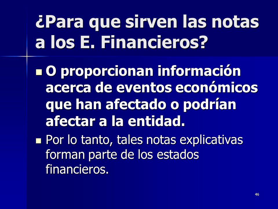 ¿Para que sirven las notas a los E. Financieros