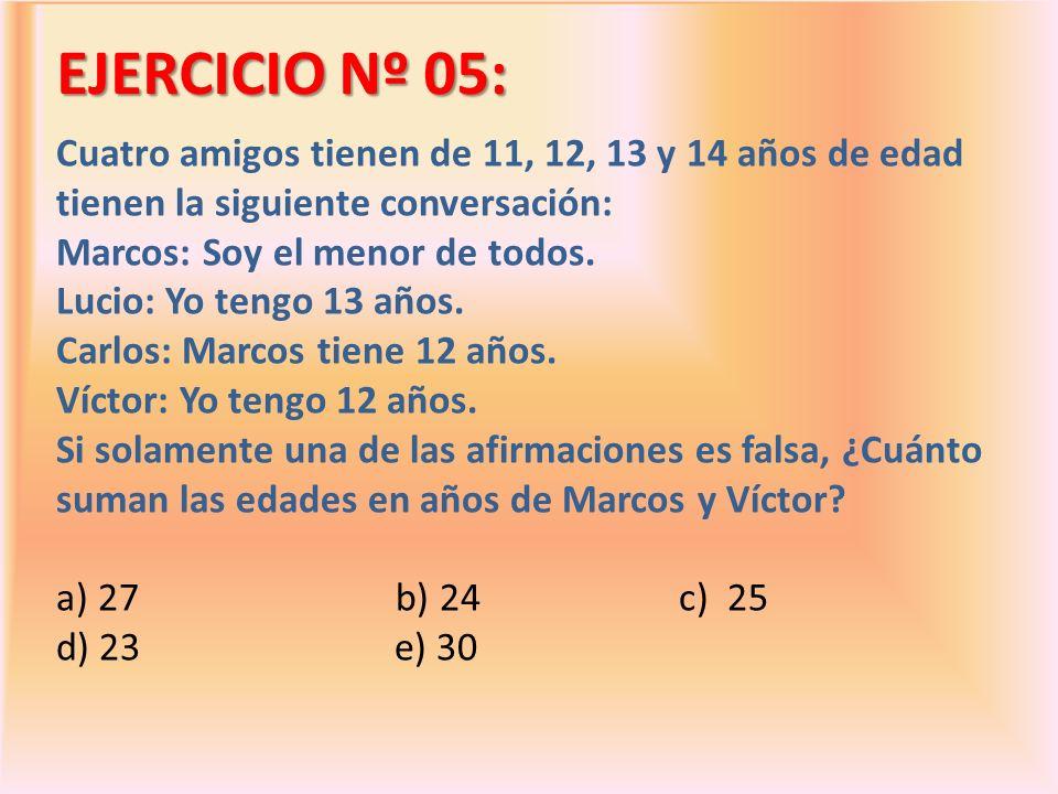 EJERCICIO Nº 05: Cuatro amigos tienen de 11, 12, 13 y 14 años de edad tienen la siguiente conversación: