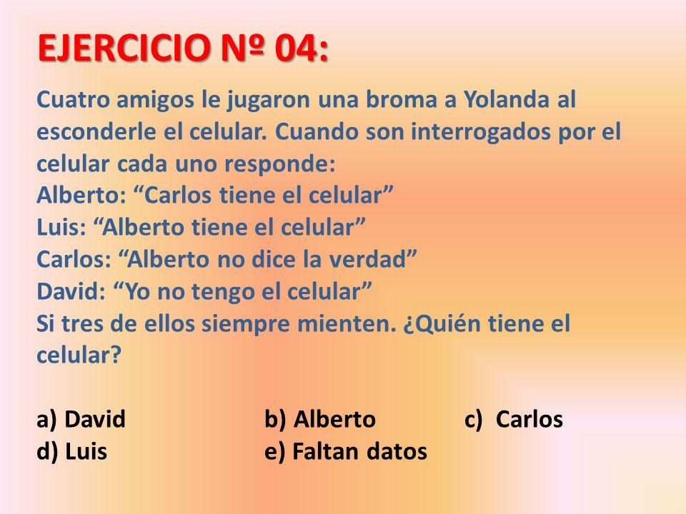 EJERCICIO Nº 04: Cuatro amigos le jugaron una broma a Yolanda al esconderle el celular. Cuando son interrogados por el celular cada uno responde: