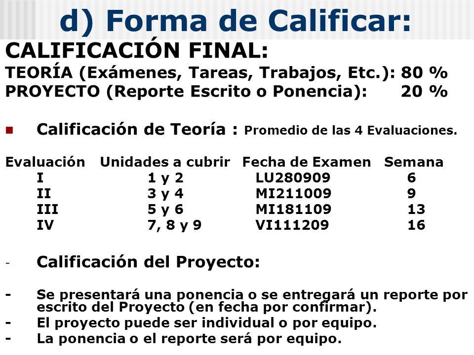 d) Forma de Calificar: CALIFICACIÓN FINAL: