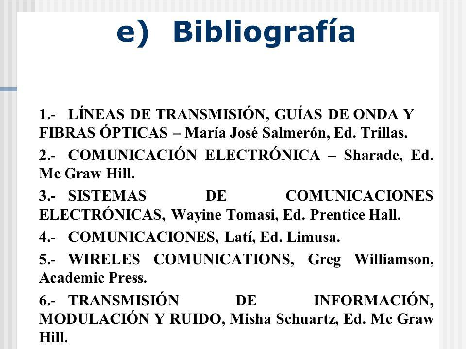 e) Bibliografía 1.- LÍNEAS DE TRANSMISIÓN, GUÍAS DE ONDA Y FIBRAS ÓPTICAS – María José Salmerón, Ed. Trillas.