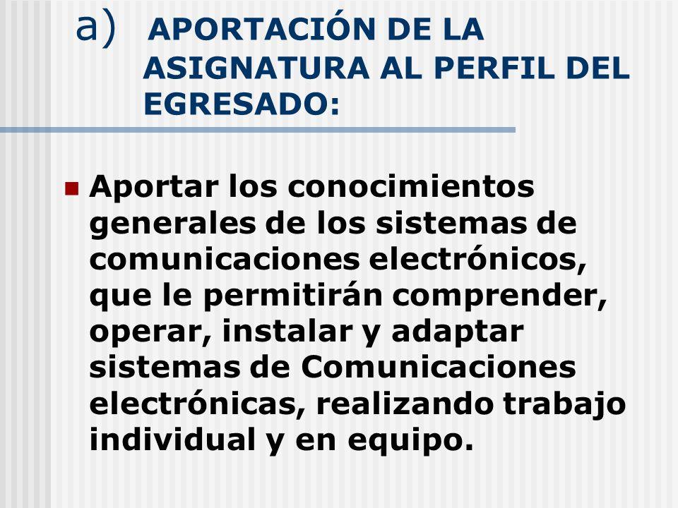 a) APORTACIÓN DE LA ASIGNATURA AL PERFIL DEL EGRESADO: