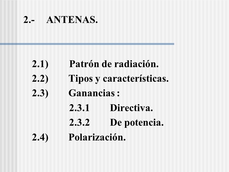 2.- ANTENAS. 2.1) Patrón de radiación. 2.2) Tipos y características. 2.3) Ganancias :