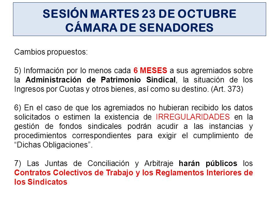 SESIÓN MARTES 23 DE OCTUBRE CÁMARA DE SENADORES